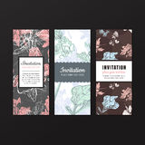 Invitation design vector set. Nature and floral design. Pastel colors Stock Images