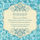 Invitation in east turkish style, blue Stock Photos
