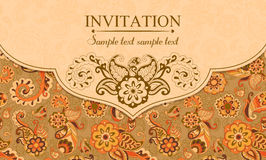 Invitation in east turkish style, orange Royalty Free Stock Photo