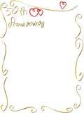 Invitation fabriquée à la main de frontière d'anniversaire de mariage Photographie stock libre de droits