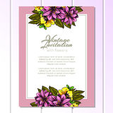 Invitation with floral background Royalty Free Stock Images