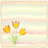 Invitation floral card on watercolor background. Invitation card on watercolor background with abstract tulips vector illustration