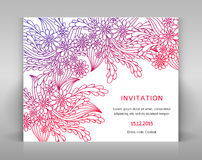 Invitation with floral decoration. Royalty Free Stock Photos
