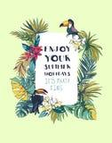 Invitation florale tropicale de partie de plage d'été avec Palm Beach le Photographie stock libre de droits