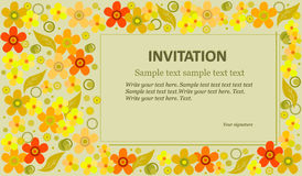 Invitation flowers. Template invitations multicolored flowers on a green background. Suitable for weddings, parties and other holiday. Vector illustration Stock Images