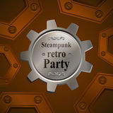 Invitation flyer on retro steampunk party in brown. Tones. Golden gear. Vector illustration stock illustration