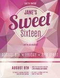 Invitation flyer for Sweet Sixteen party. Sweet sixteen party invitation flyer template design Stock Image