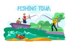 Invitation Flyer is Written Fishing Tour Cartoon. stock illustration