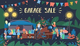 Invitation Flyer is Written Garage Sale Cartoon. stock illustration