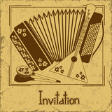 Invitation with folk musical instruments Royalty Free Stock Images