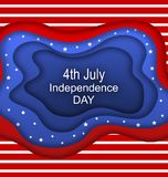 Invitation for Fourth of July Independence Day of the USA. Cut Paper Style Stock Photo