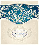 Invitation or Frame in  dark blue and beige colors Royalty Free Stock Images