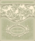 Invitation or Frame in Decorative floral backgroun Royalty Free Stock Image