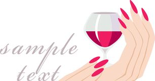 Invitation with a glass of wine Royalty Free Stock Photography