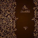 Invitation with gold lace floral ornament stock illustration