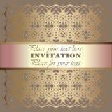 Invitation. Gold lace pattern. On a beige background. background stock illustration
