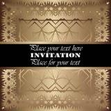 Invitation. Gold lace pattern. On a golden background stock illustration