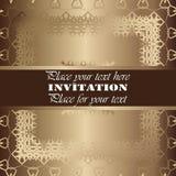 Invitation. Gold lace pattern. On a golden background. background stock illustration