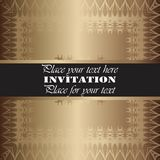 Invitation. Gold lace pattern. On a golden background. background royalty free illustration