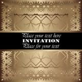 Invitation. Gold lace pattern. On a golden background vector illustration