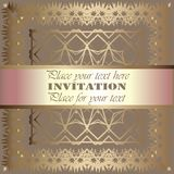 Invitation. Gold lace pattern. On a grey background. background royalty free illustration