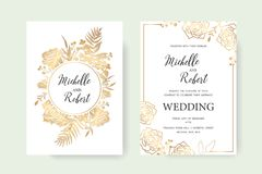 Invitation gold set. Wedding invitation, floral invite thank you. Label card vector floral design. Golden foil print pattern of forest leaves, palm, fern fronds Stock Photo