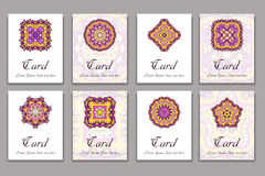 Invitation graphic card with mandala. Decorative ornament for card design: wedding, bithday, party, greeting. Vintage mandala elem Royalty Free Stock Images