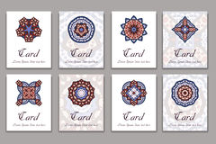 Invitation graphic card with mandala. Decorative ornament for card design: wedding, bithday, party, greeting. Vintage mandala elem Royalty Free Stock Photos