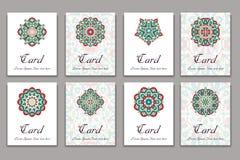 Invitation graphic card with mandala. Decorative ornament for card design: wedding, bithday, party, greeting. Vintage mandala elem Royalty Free Stock Image