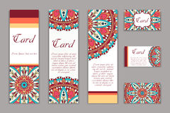 Invitation graphic card with mandala. Decorative ornament for card design: wedding, bithday, party, greeting. Vintage mandala elem Stock Images