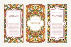 Invitation graphic card with mandala. Decorative ornament for card design: wedding, bithday, party, greeting. Vintage mandala elem Royalty Free Stock Images