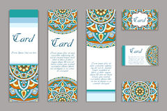 Invitation graphic card with mandala. Decorative ornament for card design: wedding, bithday, party, greeting. Vintage mandala elem Royalty Free Stock Photo