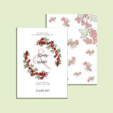 Invitation with graphic leaves and redcurrants. Used for wedding invitation, greeting cards Vector Illustration