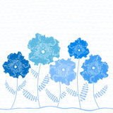 Invitation or greeting card with blue flowers Royalty Free Stock Photo