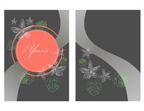 Invitation or greeting card in gray and peach color with contours of tropical leaves and flowers. stock illustration