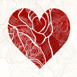 Invitation or greeting card with heart and  rose. Stock Photography
