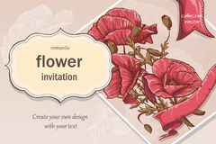 Invitation, greeting card with red poppies Royalty Free Stock Photography