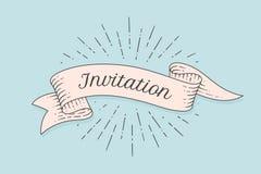 Invitation. Old ribbon banner royalty free illustration