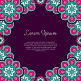 Abstract ornamental background. Invitation or greeting card template with abstract ornament. Hand drawn vector illustration Stock Images