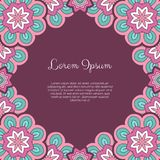 Abstract ornamental background. Invitation or greeting card template with abstract ornament. Hand drawn vector illustration Royalty Free Stock Images