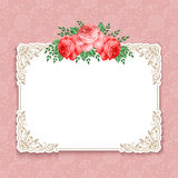 Retro floral background. Invitation or greeting card template with roses in retro style. Vector Illustration Royalty Free Stock Photo