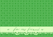 Green greeting card for friend with square. Invitation, greeting card, wish postcard with text `for my friend`, cover for notebook or present vector illustration