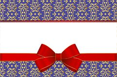 Invitation, Greeting or Gift Card With Red Ribbon And A Bow  on Decorative Elements  background. Gift Voucher Template with  place for text Stock Images