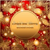 Invitation or greeting Merry Christmas card with glossing golden design of pine cones and conifer Royalty Free Stock Image