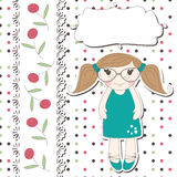 Invitation or greeting scrapbook card for girl Stock Photography