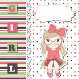 Invitation or greeting scrapbook card for girl Stock Images