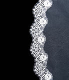 Invitation, greeting or wedding card. Invitation, greeting or wedding card with white lace on black background Stock Images