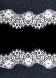 Invitation, greeting or wedding card. Invitation, greeting or wedding card with white lace on black background Royalty Free Stock Image