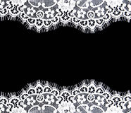 Invitation, greeting or wedding card. Invitation, greeting or wedding card with white lace on black background Stock Photos
