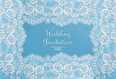 Invitation, greeting or wedding card. Invitation, greeting or wedding card with white lace on blue background Stock Images